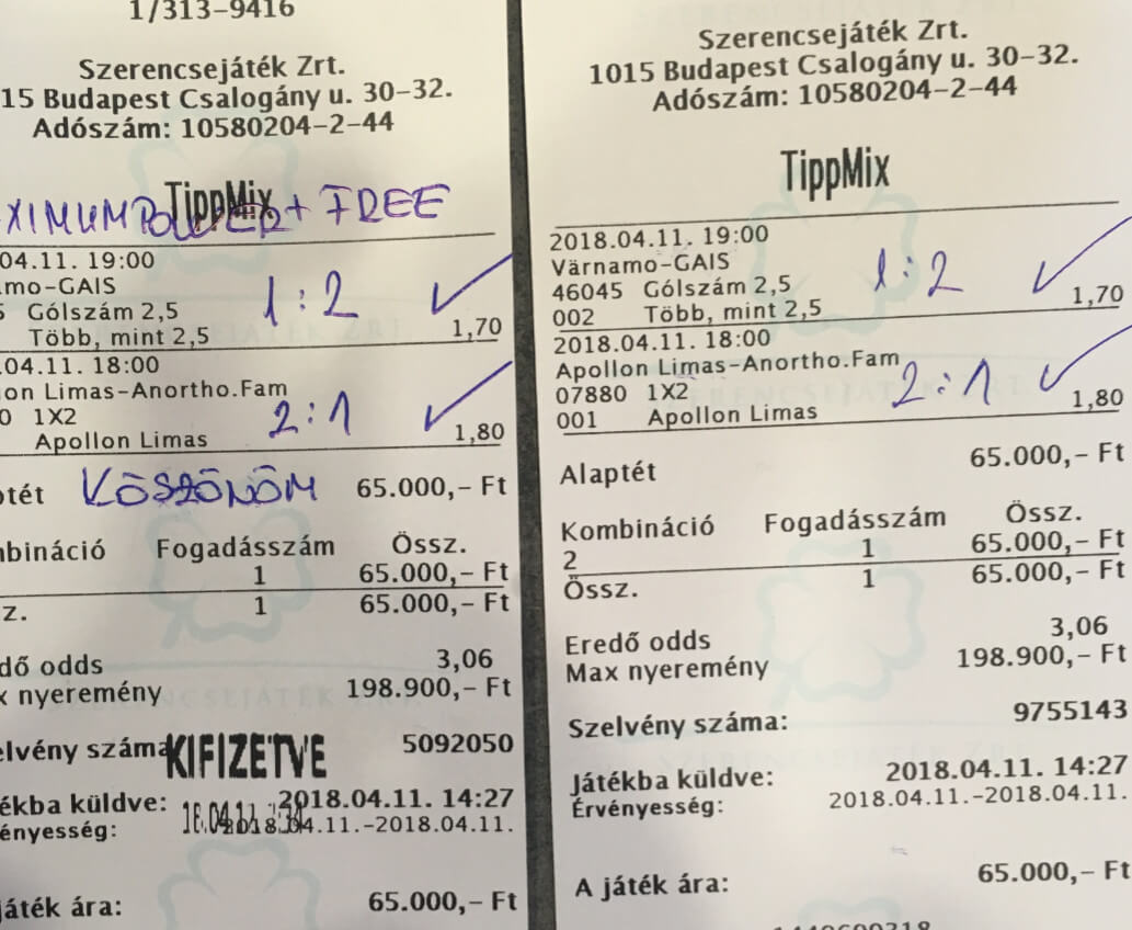 Sportfogadásban otthon vagyunk: Tippmix tippek, mérkőzés elemzések, statisztikai adatok. Napi ingyenes tippek. Csatlakozz Magyarország legsikeresebb sportfogadó csapatához!